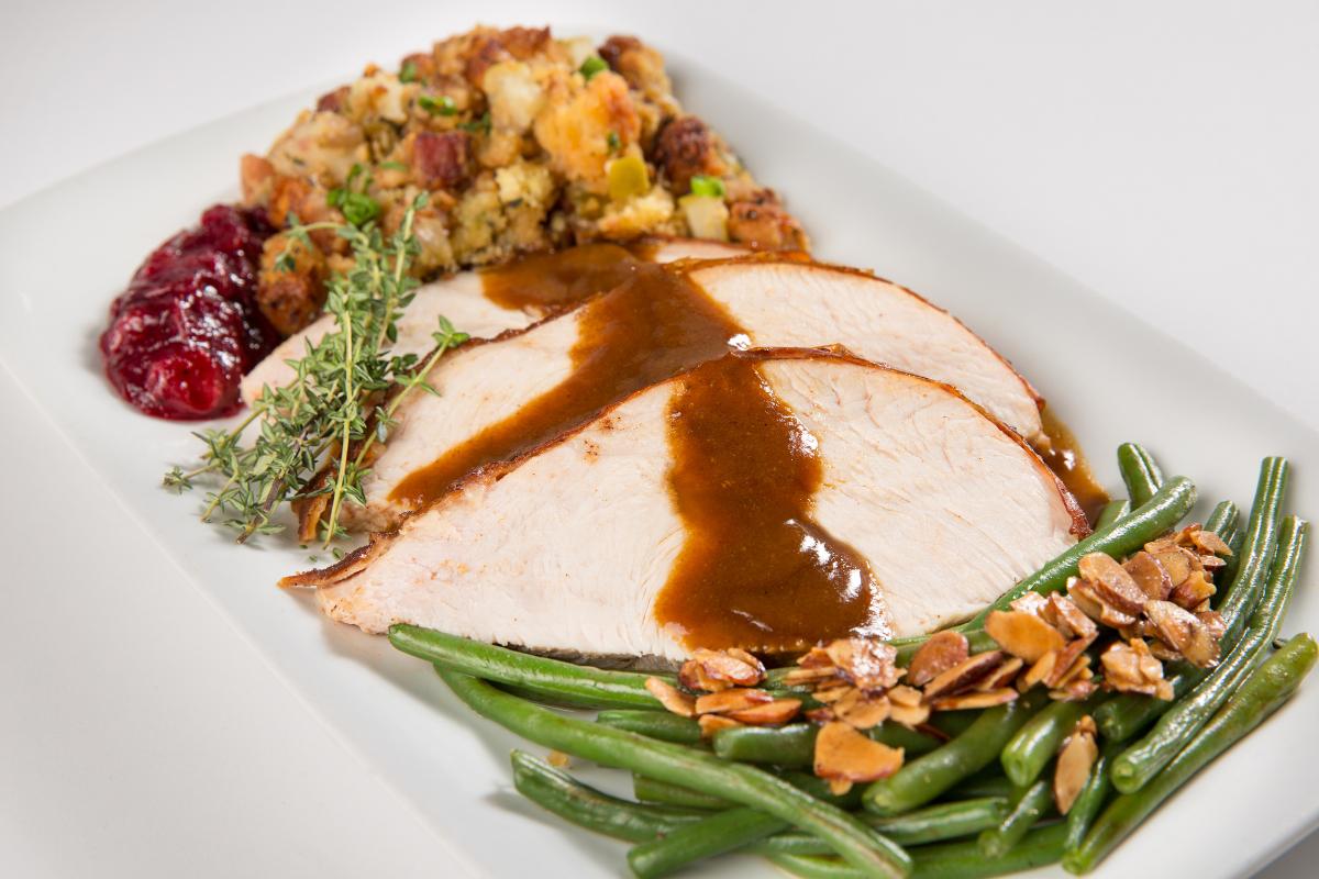 sliced turkey breast with veggies + gravy