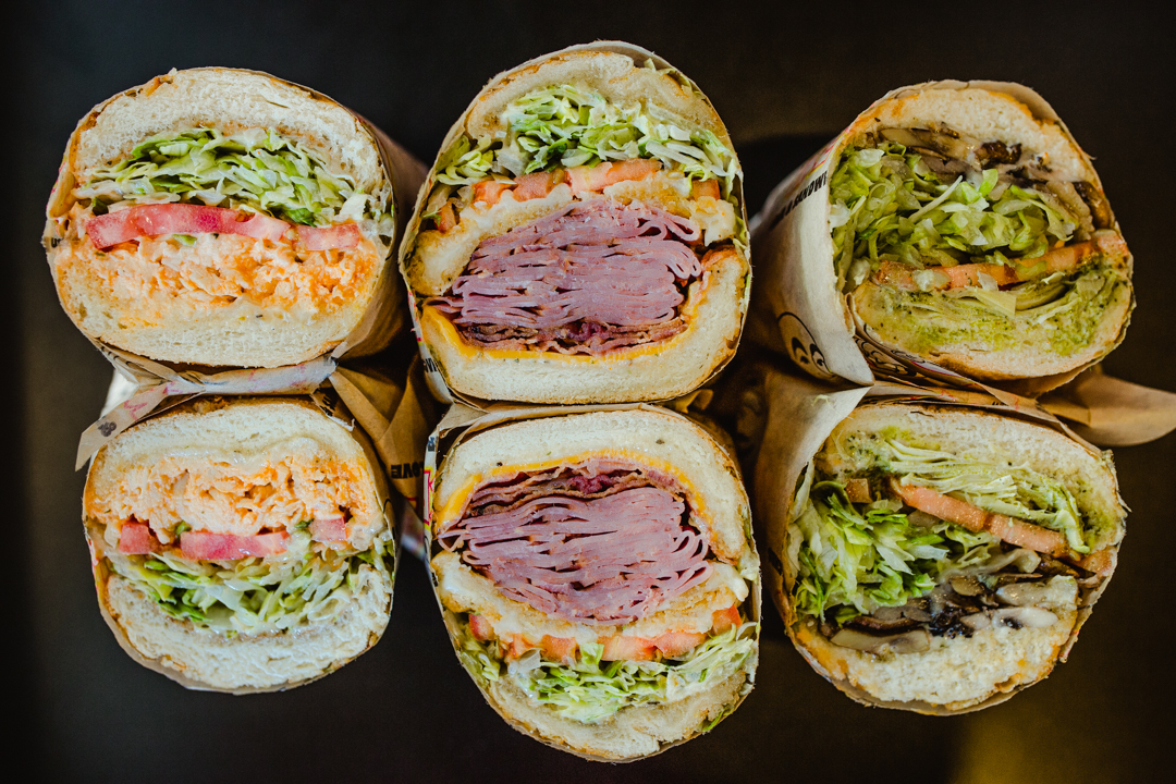 Three huge sandwiches