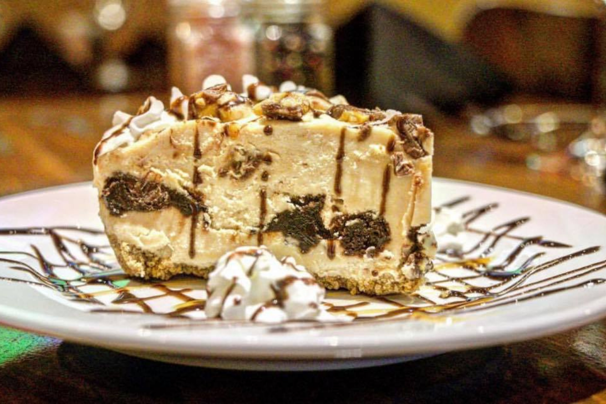 side of slice of snickers pie