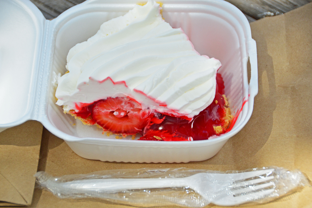 slice of strawberry cream pie