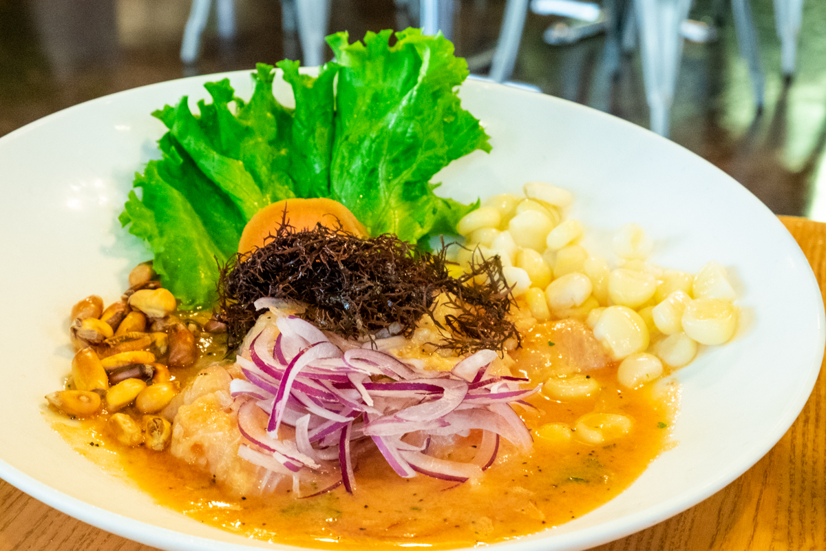 Peruvian flounder ceviche at Hanan's Cafe