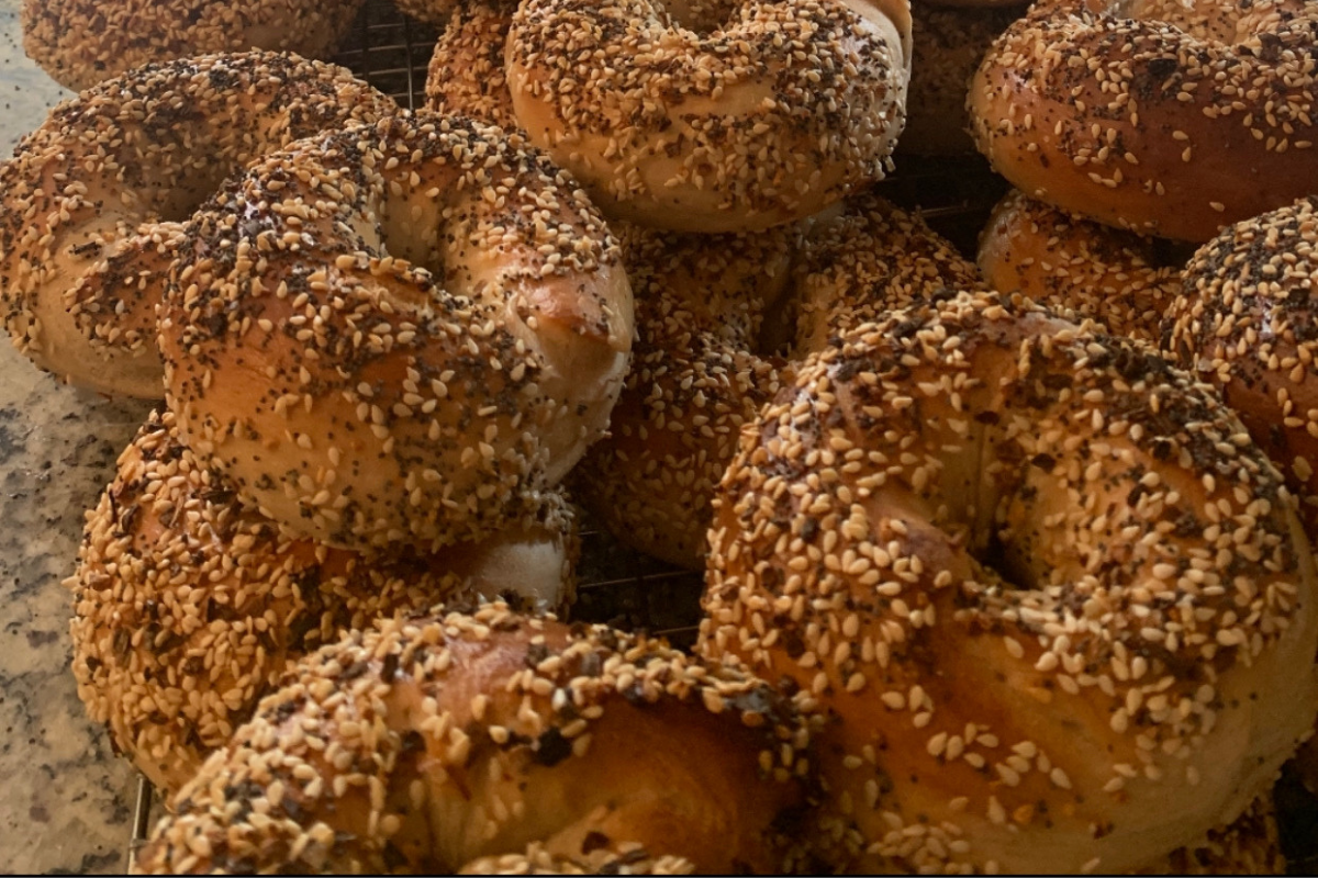 close up of bagels