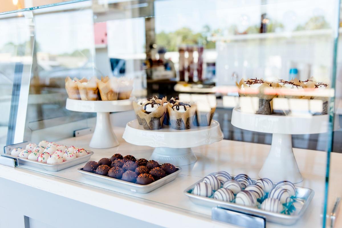 glass case of bakery goods