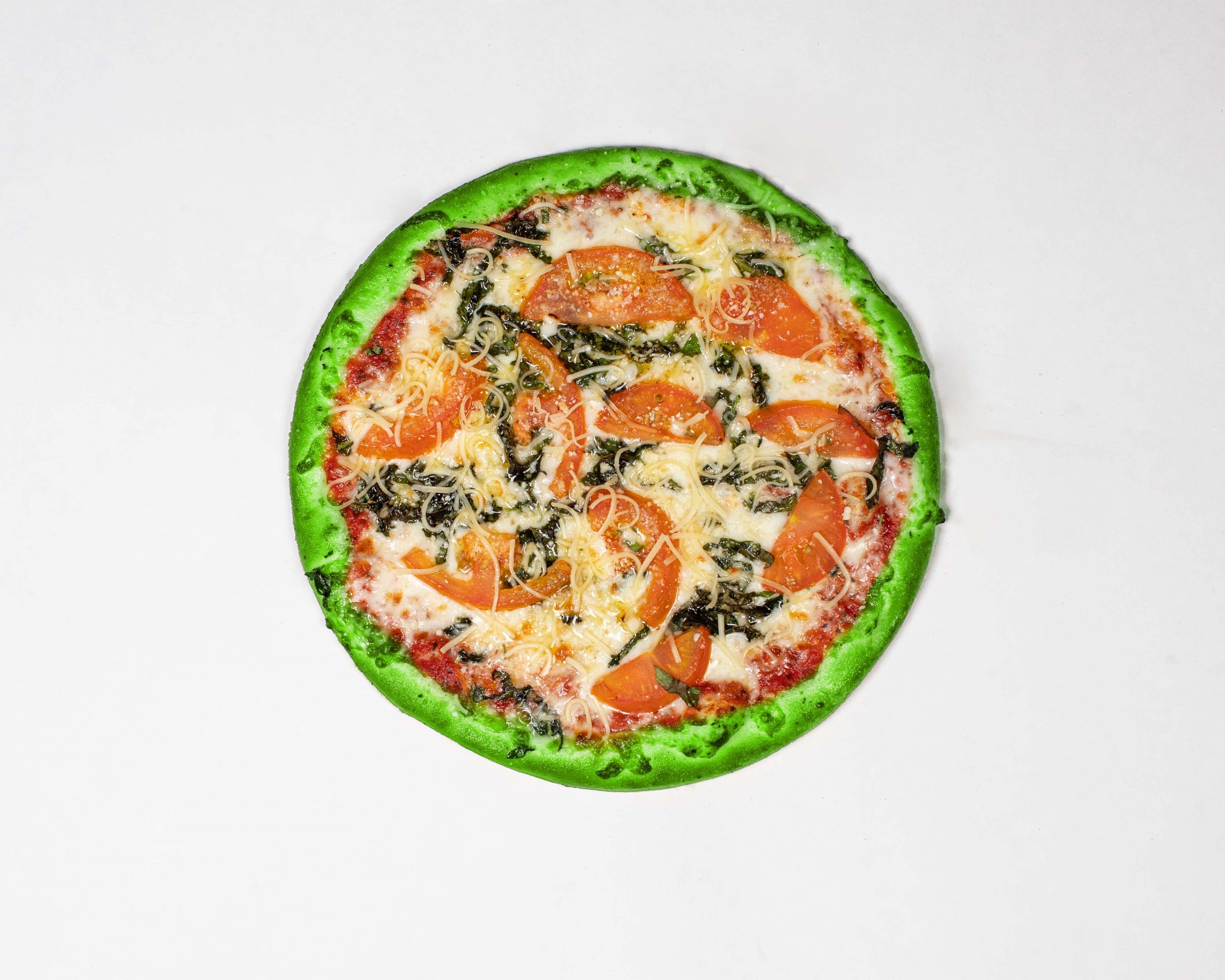 margherita pizza with green crust
