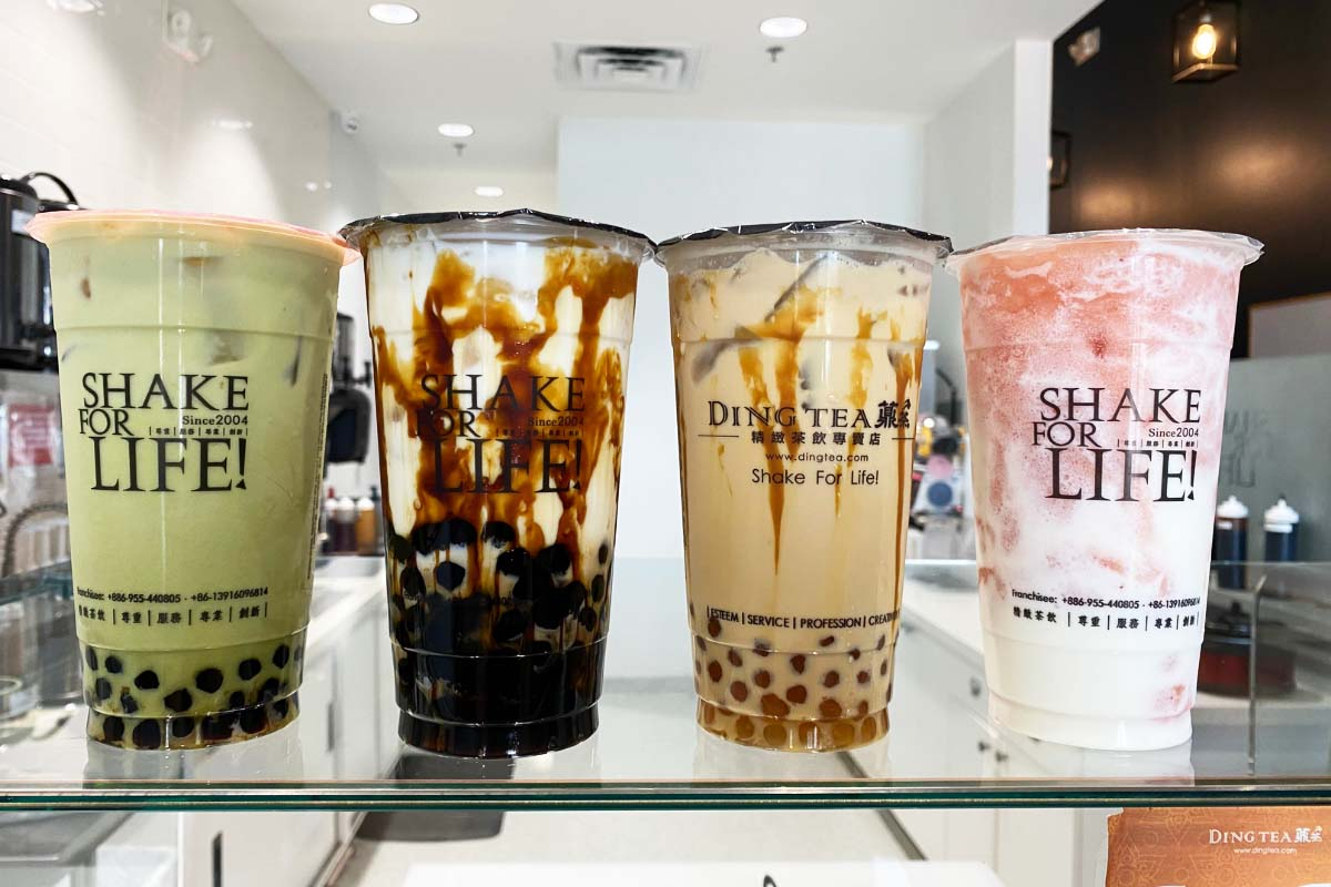 row of bubble tea drinks