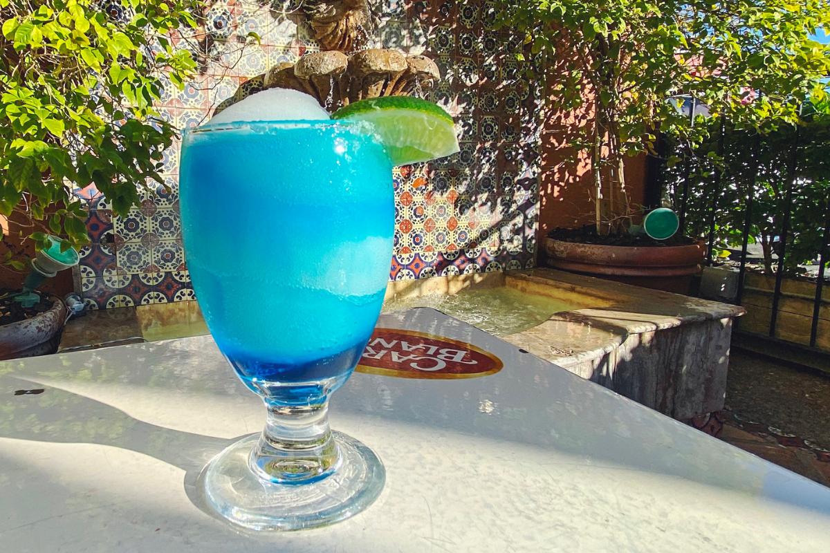 Frozen blue margarita in a glass