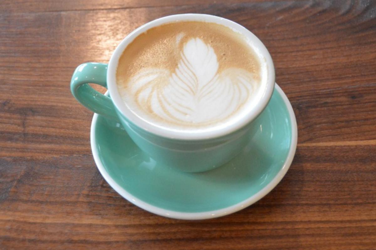 latte in green mug