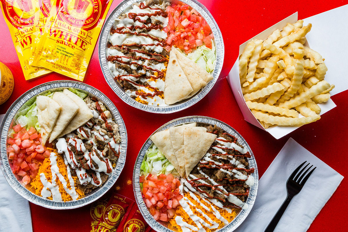 assortment of dishes at The Halal Guys