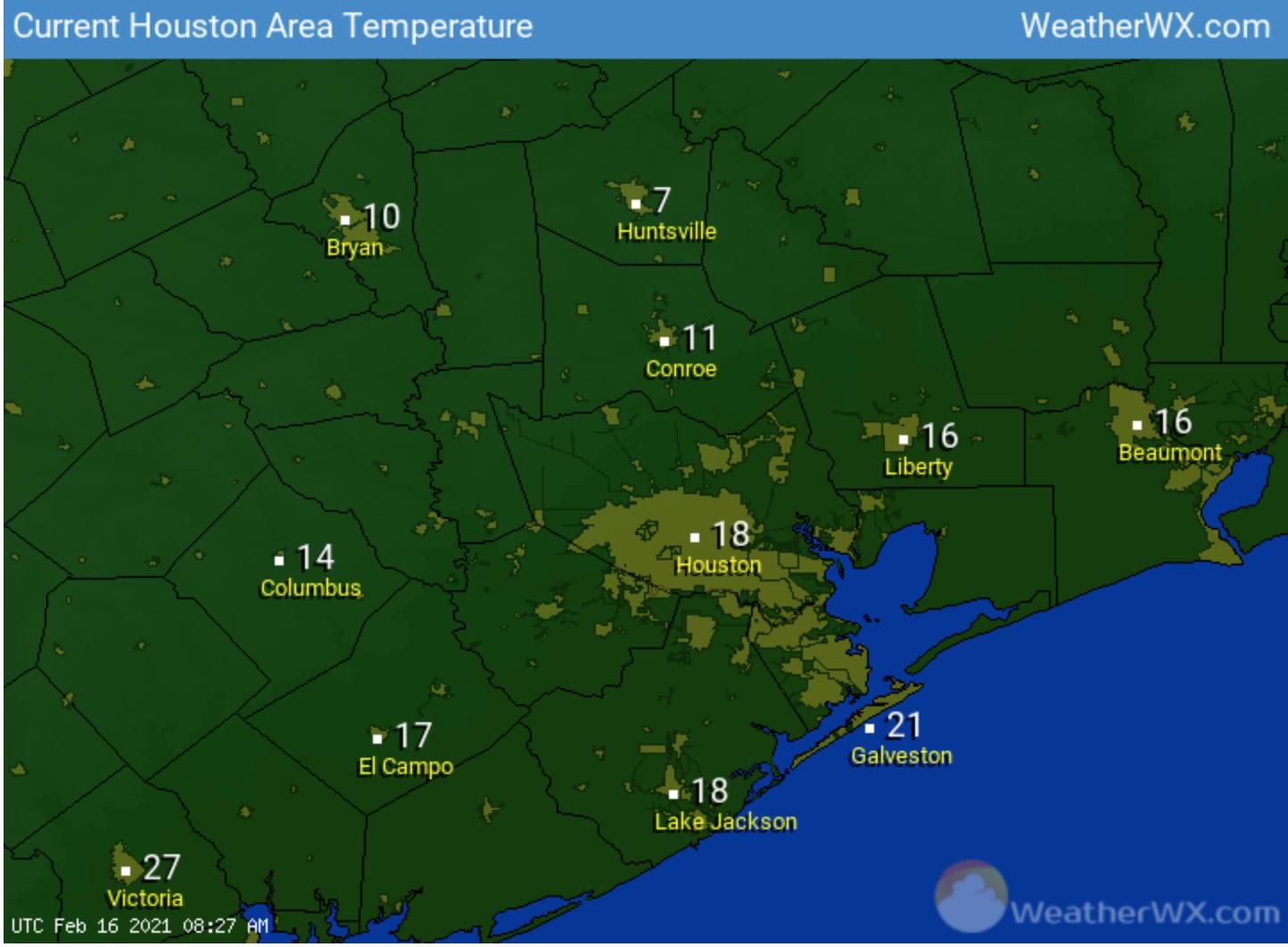 2/16/21 temperatures