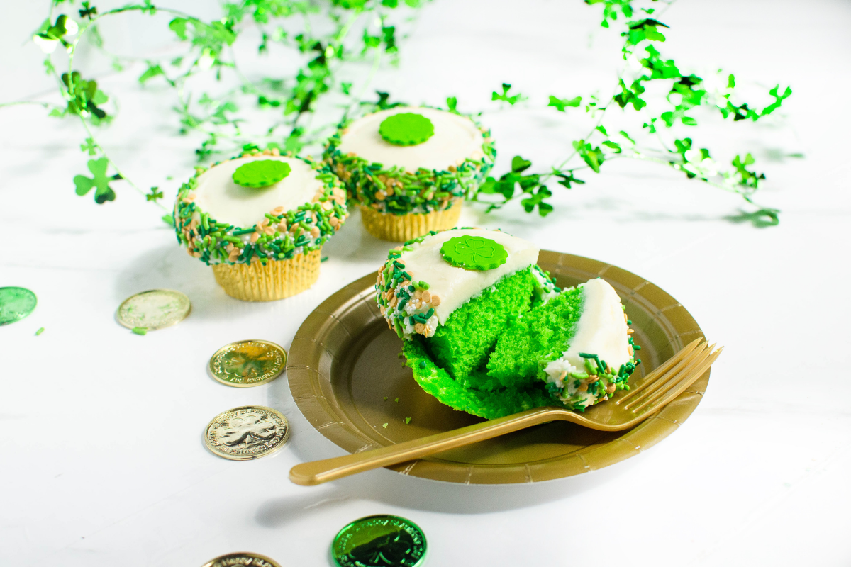 three cupcakes, green inside