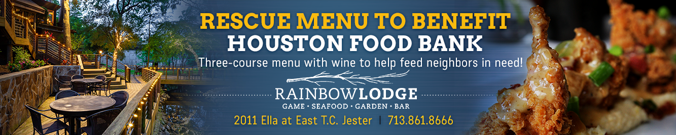 Rainbow Lodge is raising money for the Houston Food Bank in March 2021.