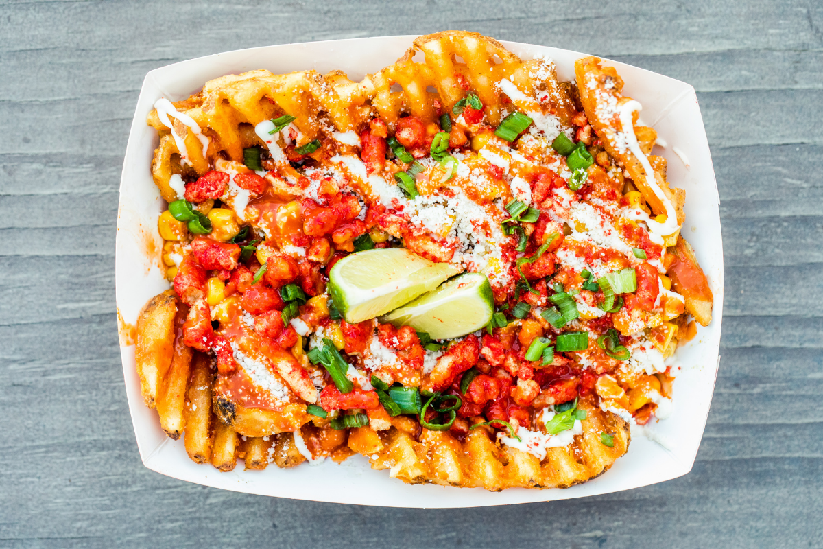 waffle fries with toppings