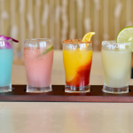 four frozen cocktails in a row