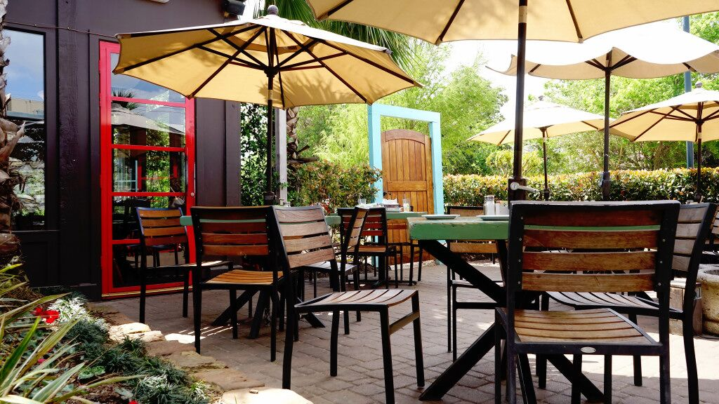 Shady patio with dining tables and umbrellas