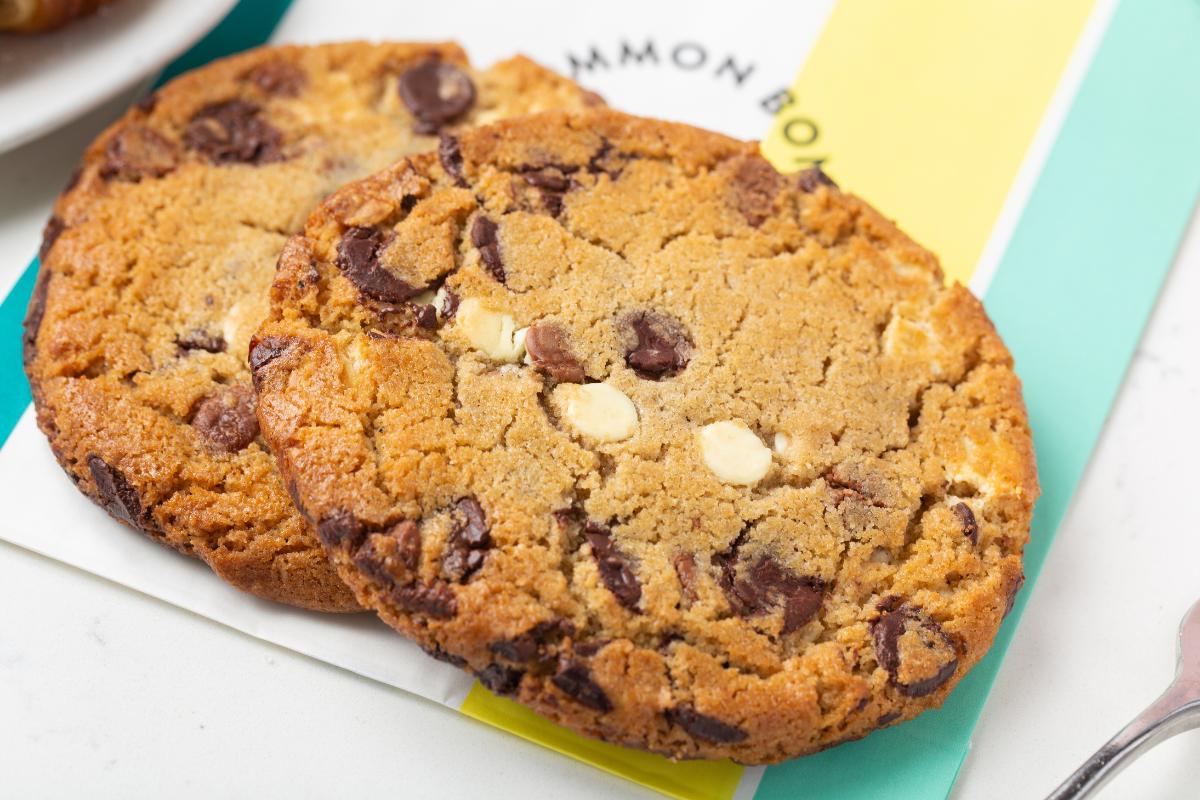 Closeup of chocolate chip cookies