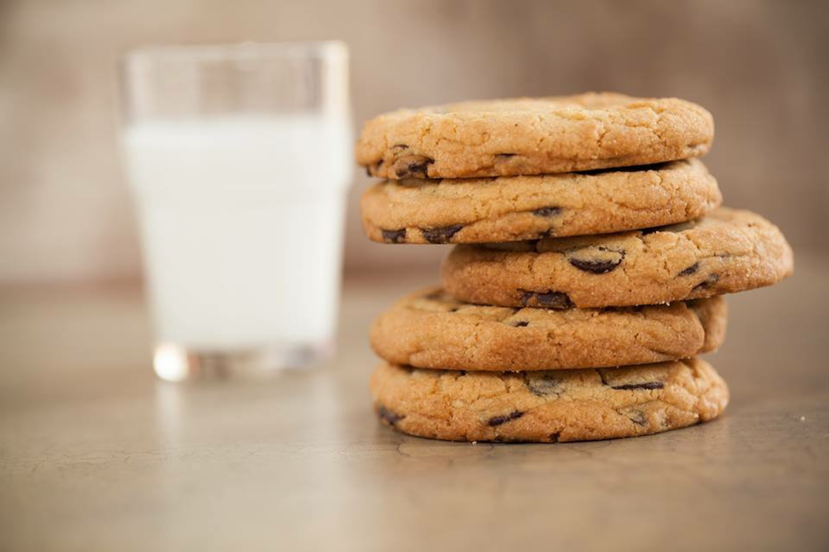 stack of chocolate chip cookies and a glass of milk