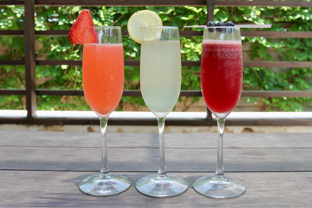 red, white and blue mimosa flight