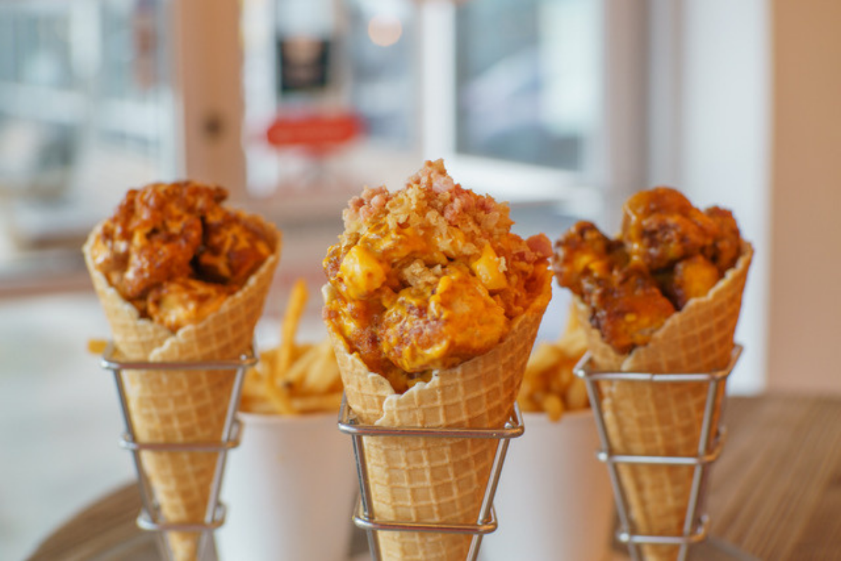 fried chicken filled waffle cones