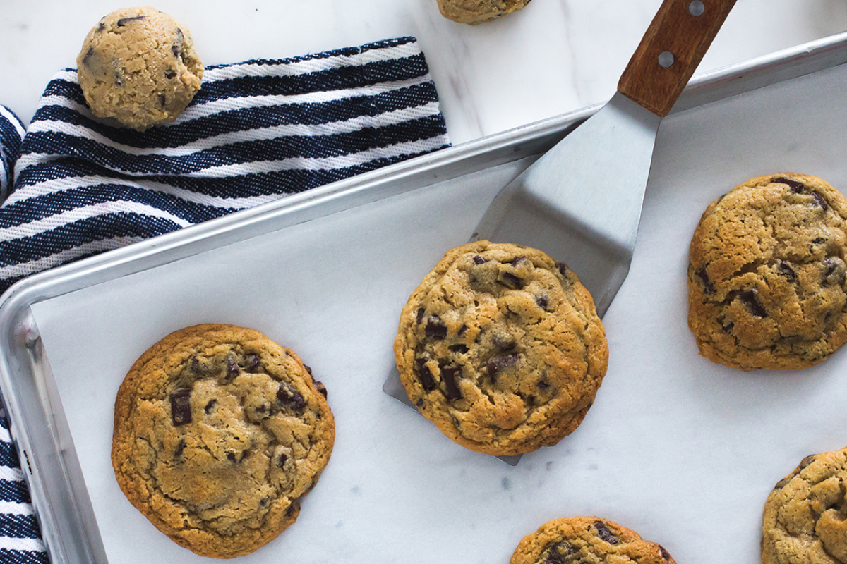 overhead of chocolate chip cookies on tray