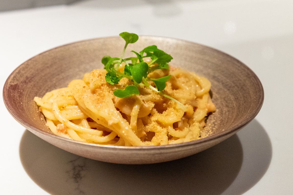 pasta with fermented roe, Parmesan and dried chili at Hidden Omakase