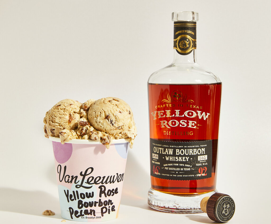 photo of a pint of ice cream next to a Yellow Rose bourbon bottle