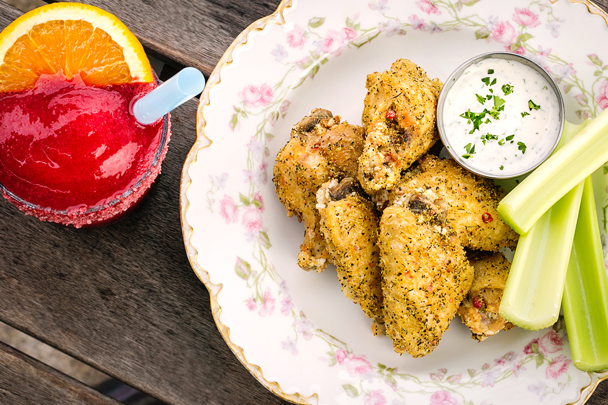 Frozen Raspberry Negroni and Pink Peppercorn-Lemon Pepper Wings at Winnie's