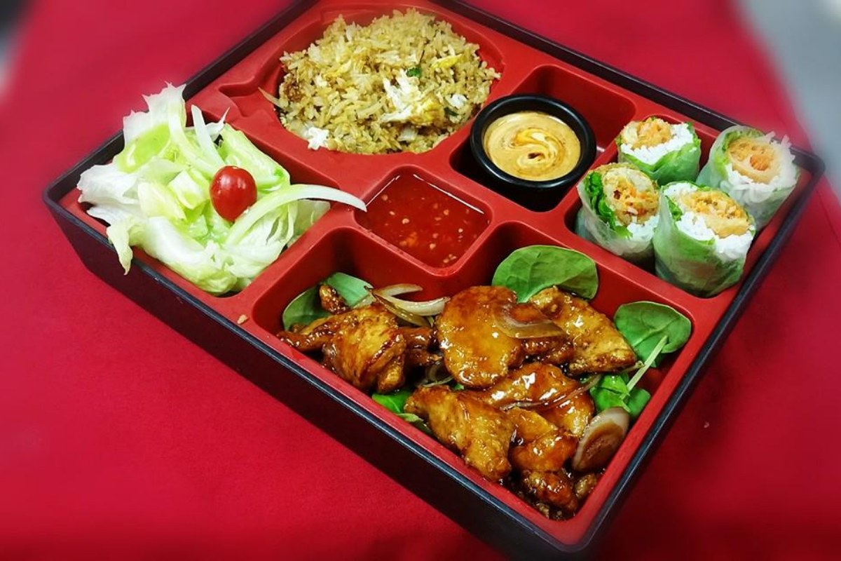 Bento Box with chicken, rolls, and fried rice