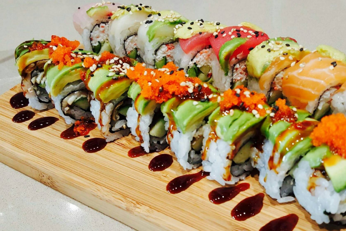 two colorful sushi rolls